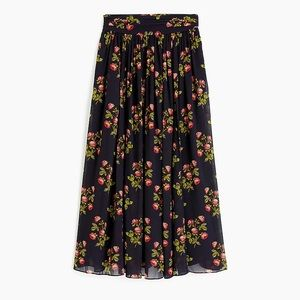 NWT J.Crew Point Sur Maxi Skirt Navy Floral 00 NEW